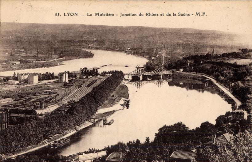 Lyon : La Mulatière-jonction du Rhône et de la Saône